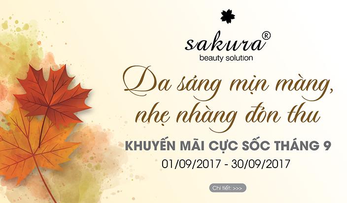 """""""Da sáng mịn màng, nhẹ nhàng đón thu"""" cùng khuyến mãi đặc biệt tháng 9 từ Sakura Beauty"""