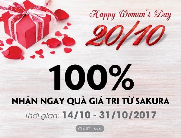 """Ưu đãi 20/10: 100% nhận ngay """"cơn bão"""" quà tặng tại hệ thống showroom Sakura Beauty"""