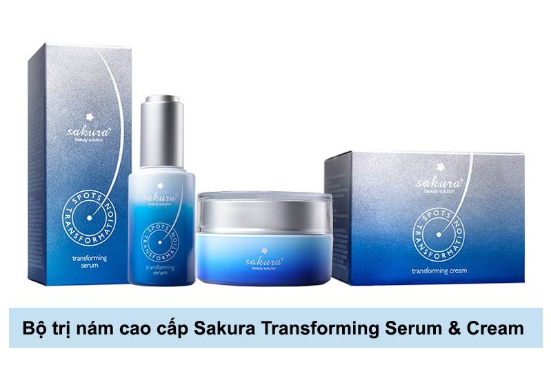 combo làm mờ vết nám cao cấp sakura transforming serum & cream