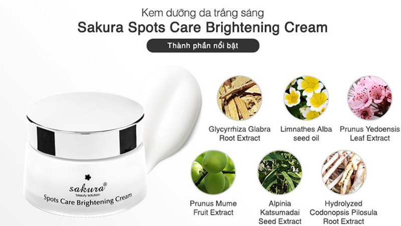 kem dưỡng làm mờ vết nám Sakura Spots Care Brightening an toàn cho mọi làn da nhạy cảm