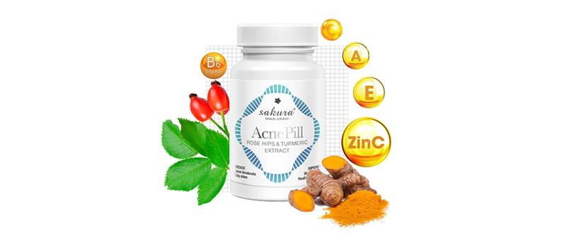 viên uống Sakura chứa tác động kép Vitamin loại bỏ mụn hiệu quả
